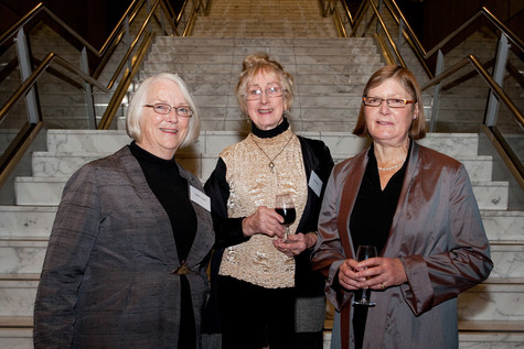 Ann Betts (centre) with gallery director Jenny Harper (right) and colleague Judith Hoult (left) at the Gallery Guides 30th Anniversary function, 2009