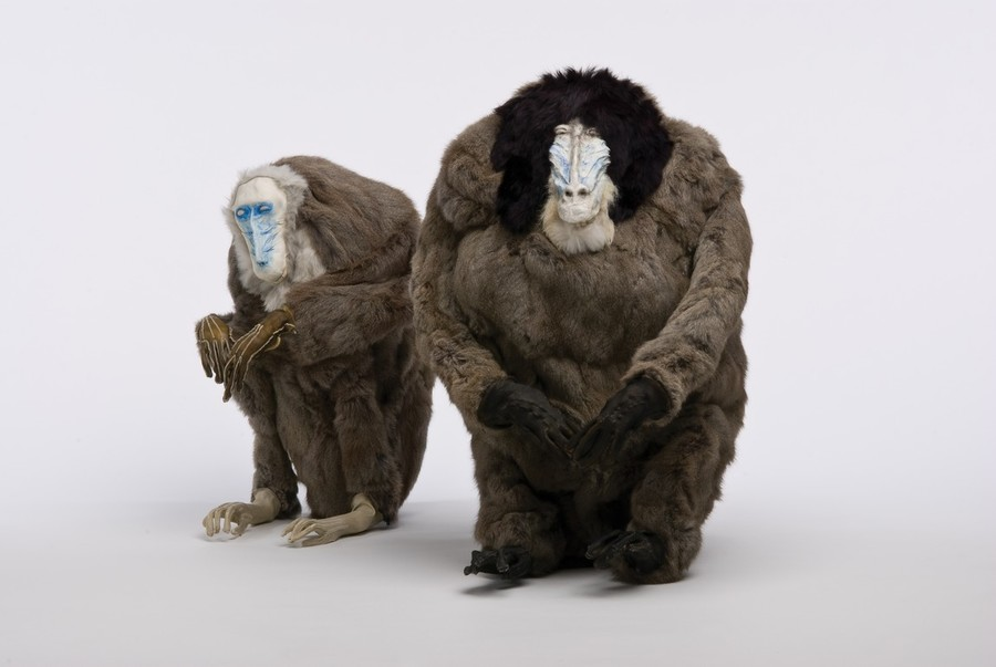 Francis Upritchard Wife 2006, and Husband 2006. Rabbit fur, tanned goat skin, modelling materials. Collection of Christchurch Art Gallery Te Puna o Waiwhetū, purchased 2008. Courtesy of the artist and Kate MacGarry