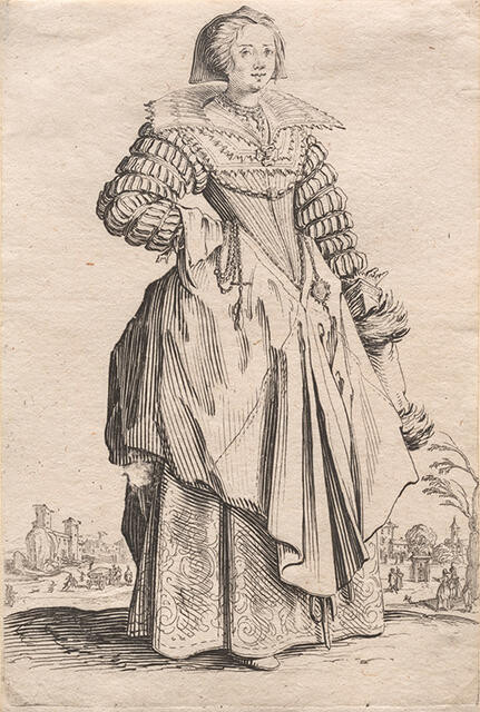 La Dame à la Grande Collerette et à la Coiffe Retombant en Arrière (The Lady with a Large Collar and a Headdress that Falls to the Back), from La Noblesse de Lorraine (The Nobility of Lorraine)