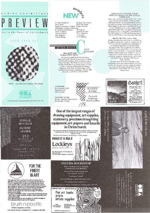 Canterbury Society of Arts Preview, number 167, June 1992