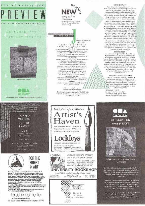Canterbury Society of Arts Preview, number 173, December 1992