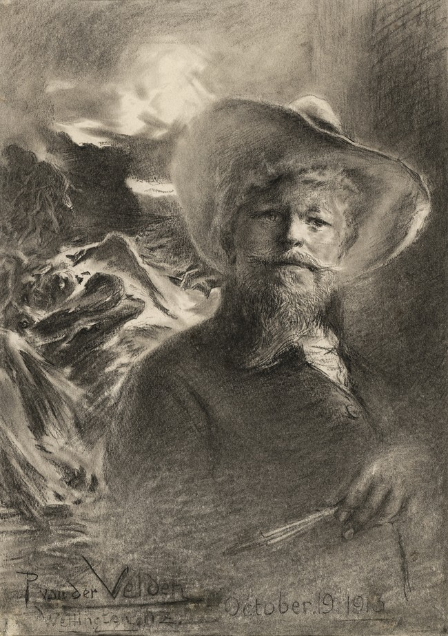 Petrus van der Velden Self-portrait with Otira background 1913. Charcoal. Collection of Christchurch Art Gallery Te Puna o Waiwhetū, bequeathed by Miss D.C. Bates, 1983