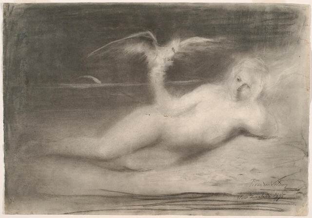 Reclining Nude With Bird