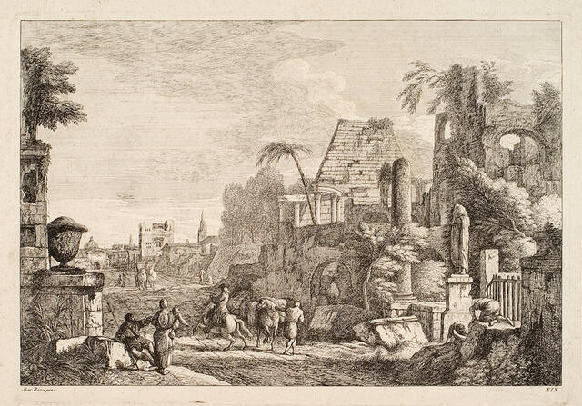 Figures among Classical ruins (after Marco Ricci)