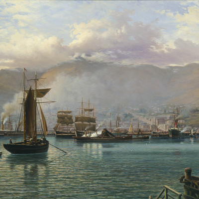 John Gibb Lyttelton Harbour, N.Z. Inside the breakwater 1886. Oil on canvas. Collection of Christchurch Art Gallery Te Puna o Waiwhetu. Presented by the Lyttelton harbour Board 1989