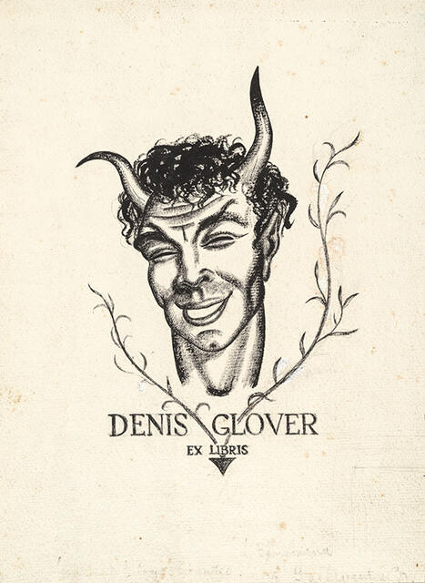 Bookplate design for Denis Glover
