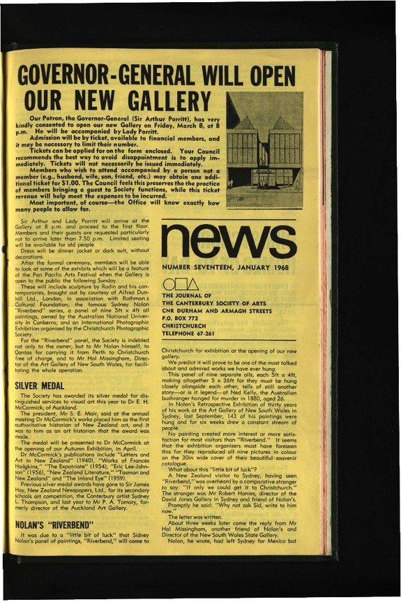 Canterbury Society of Arts News, number 17, January 1968