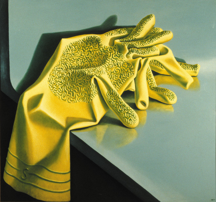 Michael Smither Rubber Gloves 1977. Oil on hardboard. Collection Govett-Brewster Art Gallery, New Plymouth, purchased from Monica Brewster Bequest in 1978