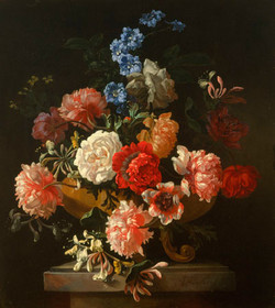 Roses, Honeysuckle and other flowers in a sculpted vase