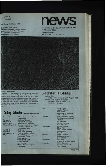 Canterbury Society of Arts News, number 36, March 1971