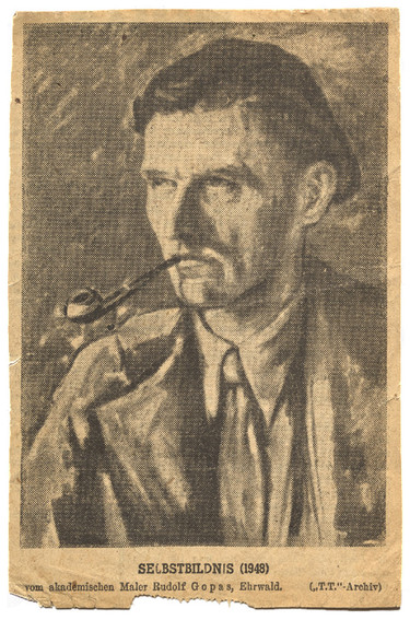 Self portrait of Rudolf Gopas, newspaper clipping from issue 2281 of the Tiroler Tageszeitung, 4 December 1948, p.5. Folder 3a, Box 2, Rudolf Gopas Archive, Robert and Barbara Stewart Library and Archive, Christchurch Art Gallery Te Puna o Waiwhetū