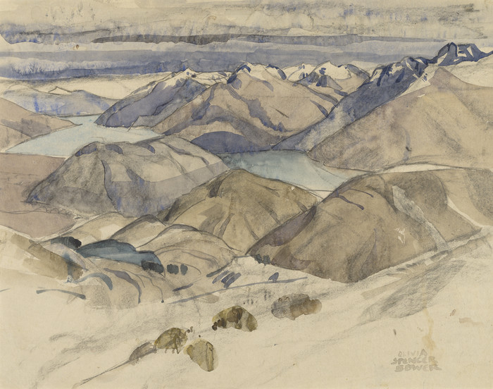 Olivia Spencer Bower Queenstown and the Lake from the Snowfields date unknown. Watercolour and pencil. Collection of Christchurch Art Gallery Te Puna o Waiwhetu, purchased 1976