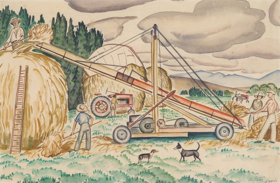 Juliet Peter Harvesting, Rydal Downs c. 1943. Collection of Christchurch Art Gallery Te Puna o Waiwhetū, gift of Alastair and Gaelyn (Ensor) Elliott, 2018