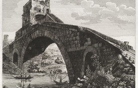 Luigi Rossini Veduta del Ponte Salario 1822. Etching. Collection of Christchurch Art Gallery Te Puna o Waiwhetu, purchased 1998