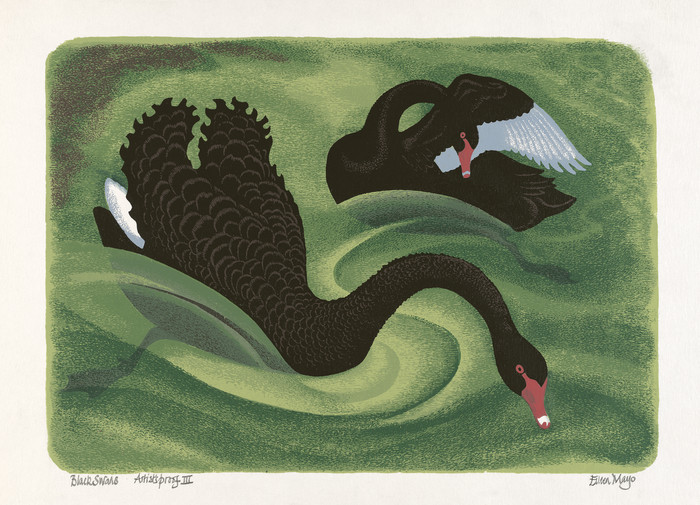 Eileen Mayo Black Swans 1983. Screenprint. Ngaire and George Hewson collection