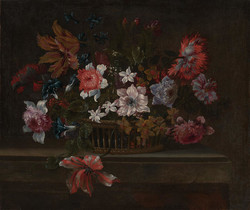 Still life with flowers in a basket by Pieter Hardimé