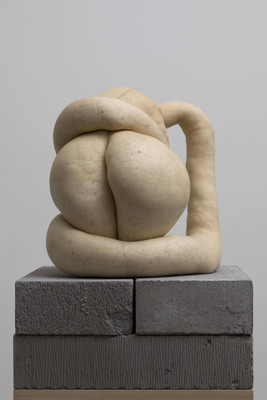 Sarah Lucas NUD CYCLADIC 1 2009. Tights, fluff, wire, concrete blocks, MDF. Collection of Christchurch Art Gallery Te Puna o Waiwhetū, purchase enabled by a gift from Andrew and Jenny Smith, made in response to the generosity of Sarah Lucas, Sadie Coles, London and Two Rooms, Auckland to the people of Christchurch on the occasion of the Canterbury Earthquake, February 2011