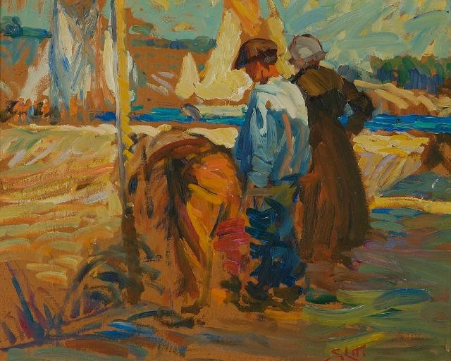 Fishermen on the Slip at the Digue, Concarneau