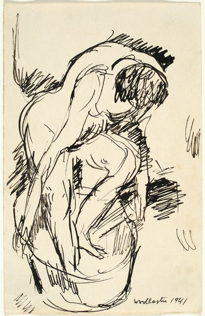 Sketch of woman bathing