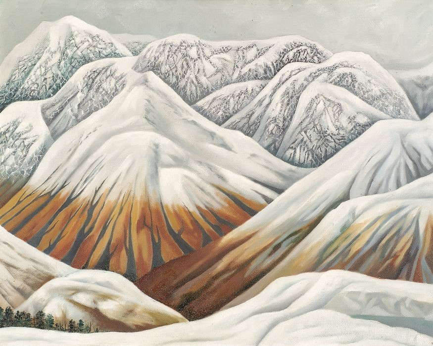 Leo Bensemann Pass in Winter 1971. Oil on canvas. Collection of Christchurch Art Gallery Te Puna o Waiwhetū. Harry Courtney Archer estate, 2002. Reproduced with permission