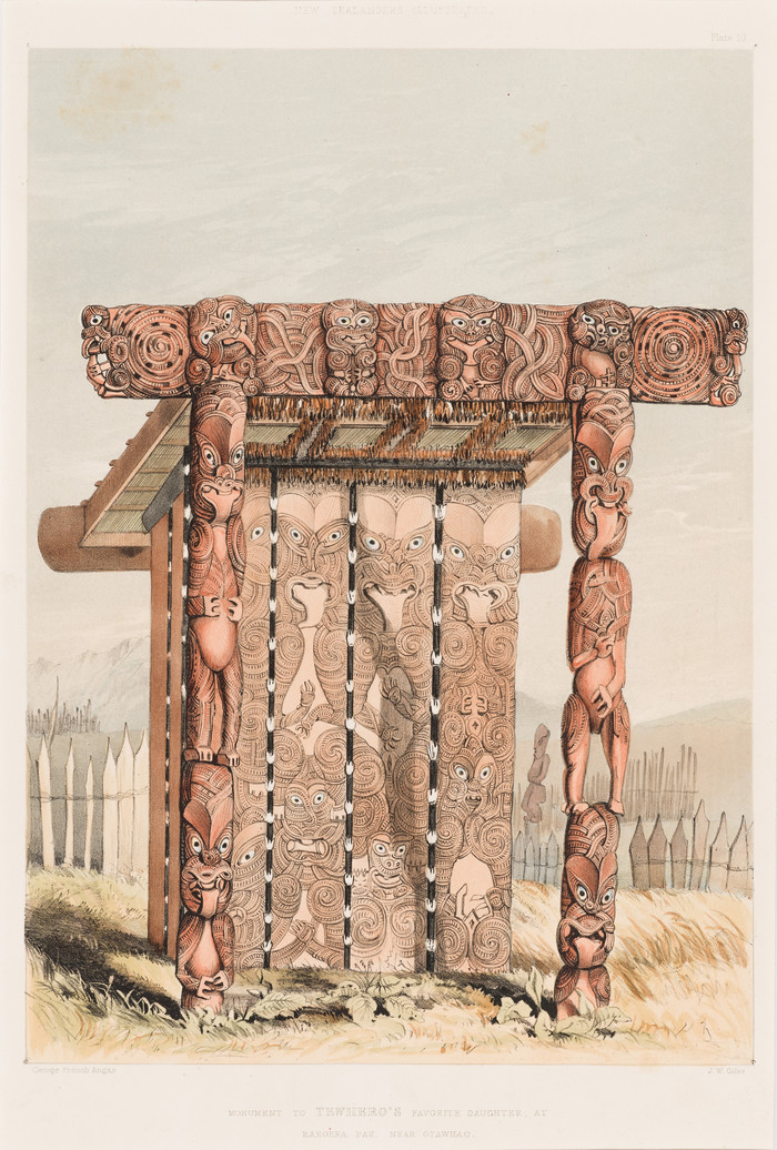 George French Angas Monument to Tewhero's Favorite Daughter, at Raroera Pah, Near Otawhao 1847. Lithograph, hand coloured. Collection of Christchurch Art Gallery Te Puna o Waiwhetū, purchased 2011