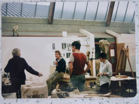 Sculpture studio, University of Canterbury School of Fine Arts, 1986. Tom Taylor, Steve Crene, Peter Robinson, and Claire Cosson. Image courtesy of Tony de Lautour