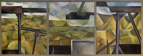 Colin McCahon On Building Bridges (triptych) 1952. Oil on hardboard. Collection of Auckland Art Gallery Toi o Tāmaki, 1958. Reproduction permission courtesy of the Colin McCahon Research and Publication Trust