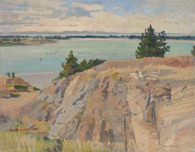 Untitled [Te Ihutai / Avon-Heathcote Estuary from Tauhinu Korokio / Mount Pleasant]
