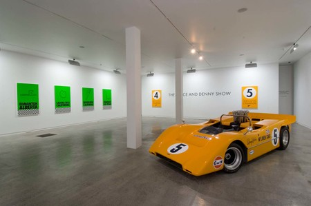 Installation view of The Bruce and Denny Show at Two Rooms, Auckland 10 April – 10 May 2008. In the exhibition, Billy Apple pays tribute to the 1967/8 achievements of the legendary New Zealand motorsport drivers Bruce McLaren and Denny Hulme. Photo: Jennifer French