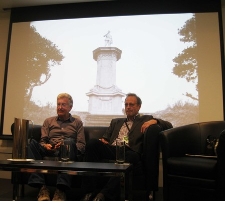 Laurence Aberhart and Jock Phillips: Remembering ANZAC. At WORD Christchurch, Christchurch. Sunday 31 August 2014. Photo by Lisa Stanger. From the collection of Christchurch City Libraries