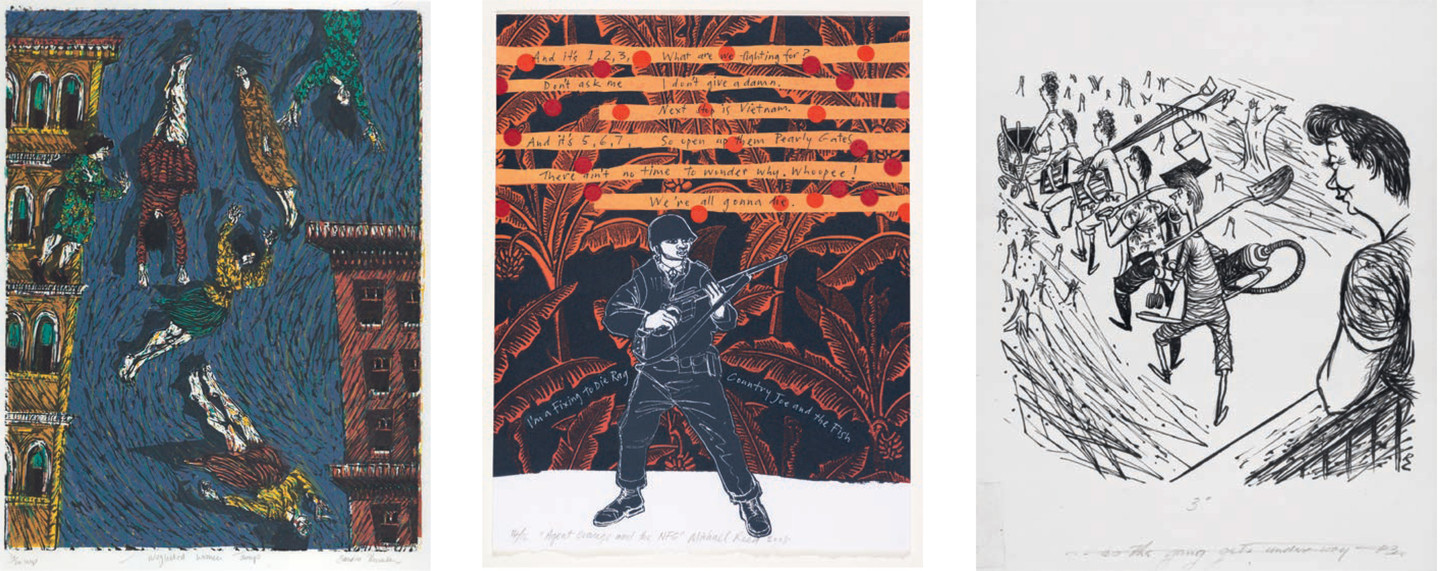 Sandra Thomson Neglected Women Jump 1988. Linocut. Collection of CPIT. Reproduced courtesy of CPIT Artwork Collection and the artist Michael Reed Agent Orange and the NFG 2008. Screenprint. Collection of CPIT. Reproduced courtesy of CPIT Artwork Collection and the artist Russell Clark As the gang gets under way 1955. Indian ink on paper. Collection of Macmillan Brown Library and University of Canterbury. Reproduced with the permission of Rosalie Archer and courtesy of the Macmillan Brown Library and University of Canterbury