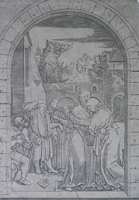 Meeting of St. Anne and St. Joachim at the Golden Gate, from The Life of the Virgin, after Albrecht Dürer