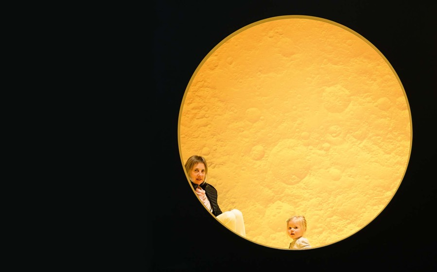 Brigid Buckenham and Neve explore Yellow Moon: He Marama Kōwhai at the Gallery.