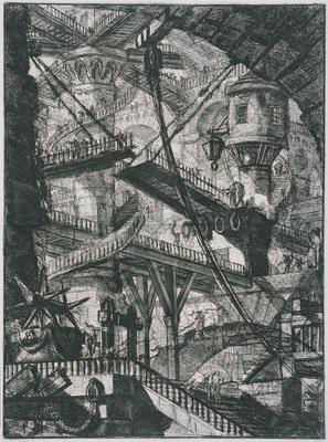 Giovanni Battista Piranesi Carceri Plate VII 'An Immense Interior With Numerous Wooden Galleries And A Drawbridge In The Centre' 1761. Etching. Collection of Christchurch Art Gallery Te Puna o Waiwhetū, purchased 1984
