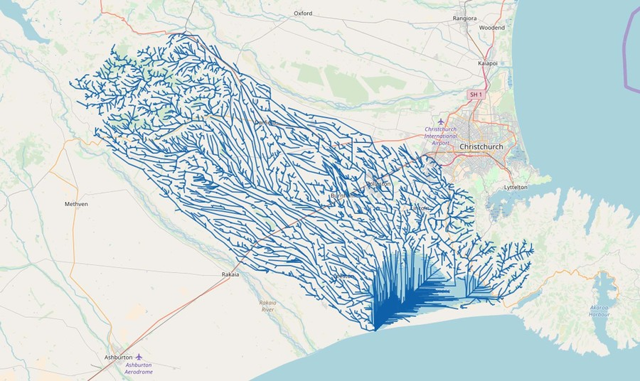 Visualisation of all waterways that drain into Lake Ellesmere. Image courtesy: Niwa