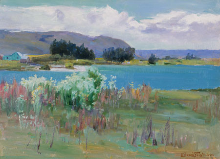 Edward Friström Lake Wakatipu. Oil on particle board. Collection of Christchurch Art Gallery Te Puna o Waiwhetū, purchased, 1971