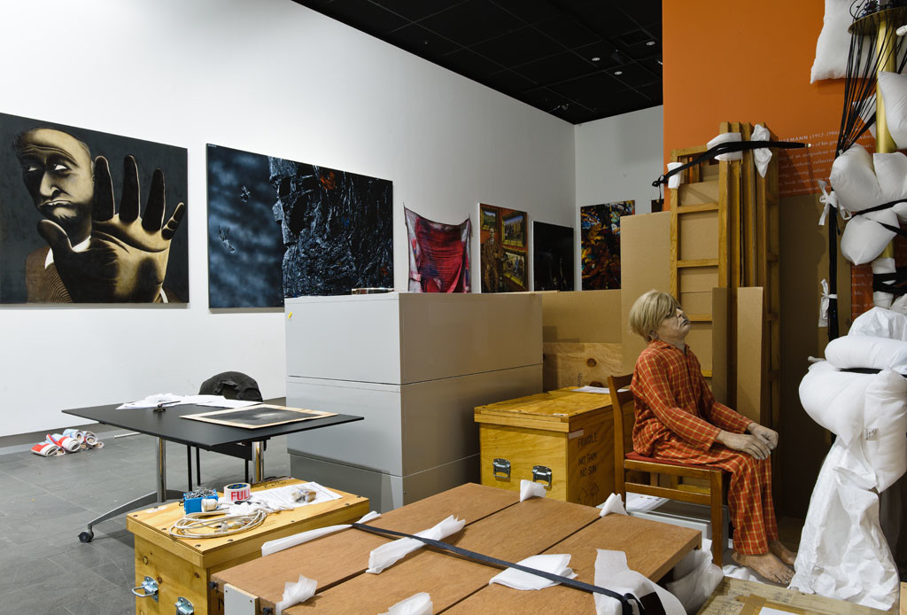 Collection artworks in temporary storage. Photo: John Collie