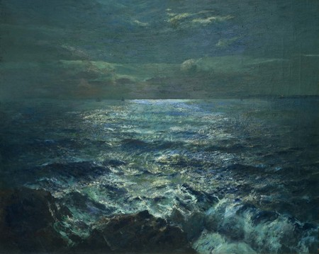 Julius Olsson Moonlight c.1910. Oil on canvas. Collection of Christchurch Art Gallery Te Puna o Waiwhetū, presented by the Canterbury Society of Arts with assistance from the John Peacock Bequest 1912. Presented to the Gallery 1932