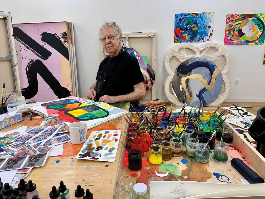 Max Gimblett in his studio, June 2020