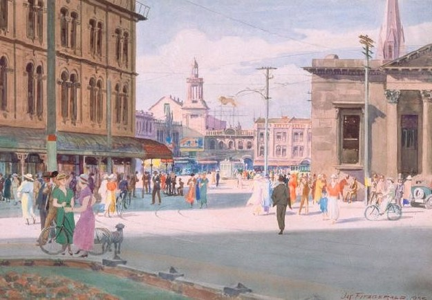 James Fitzgerald View Of Cathedral Square From Hereford Street 1935. Watercolour. Collection of Christchurch Art Gallery Te Puna o Waiwhetu, purchased 1997