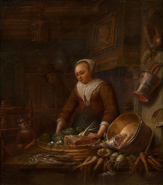 Cottage Interior with Kitchen Maid