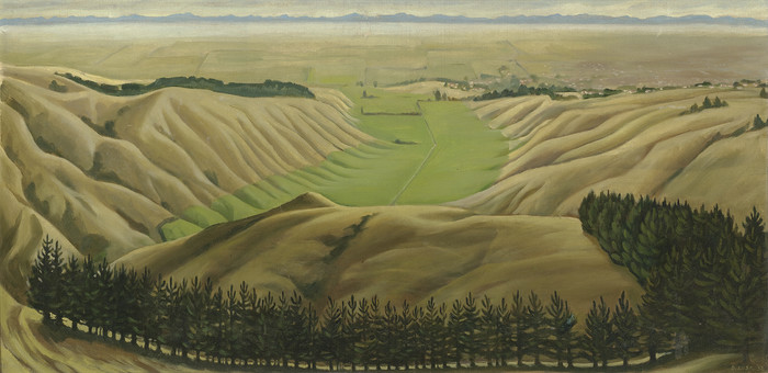 Doris Lusk Canterbury Plains from Cashmere Hills 1952. Oil on canvas board. Collection of Christchurch Art Gallery Te Puna o Waiwhetu 1974