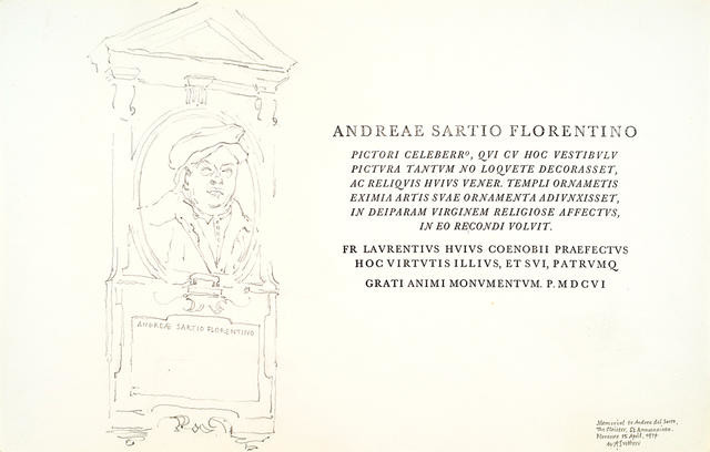 Memorial to Andrea Del Sarto, The Cloister, SS Annunziata, Florence, 15 April 1974