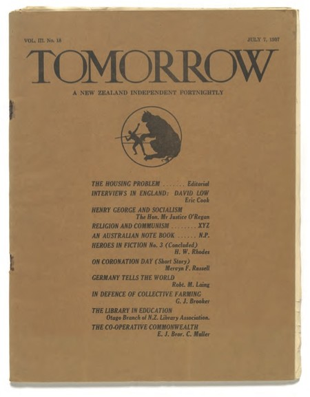 Kennaway Henderson (ed.), Tomorrow: A New Zealand Independent Fortnightly, vol III, no.18, 7 July 1937. Collection of Christchurch Art Gallery Te Puna o Waiwhetū, Robert and Barbara Stewart Library and Archives, Peter Dunbar Collection