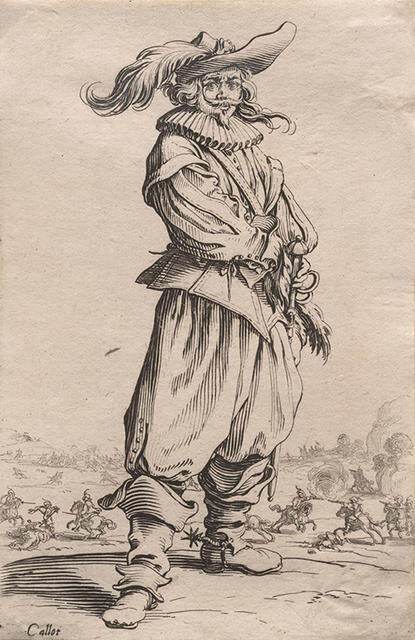 Le Guerrier au Chapeau Orné d'une Grande Plume (The Soldier with a Large Feather in his Hat), from La Noblesse de Lorraine (The Nobility of Lorraine)