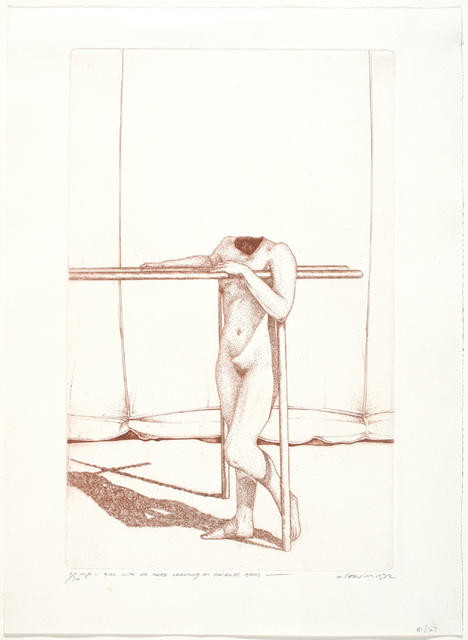 Girl With No Head Leaning On Parallel Bars