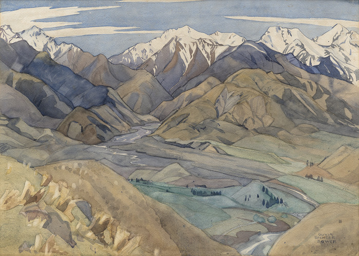 Olivia Spencer Bower Kaikoura Country 1941. Watercolour. Collection of Christchurch Art Gallery Te Puna o Waiwhetu 2013