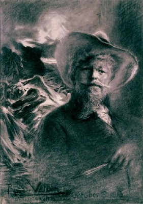 Petrus van der Velden, (1837-1913) Self Portrait with Otira background (1913), charcoal. Collection Christchurch Art Gallery Te Puna o Waiwhetū, bequeathed by Miss D. C. Bates, 1983.
