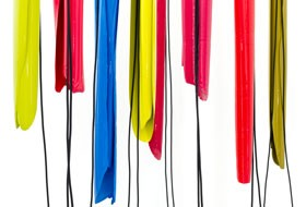 Helen Calder Yellow, blue, red and black (detail) 2013. Enamel paint, rubber cords. Courtesy of the artist