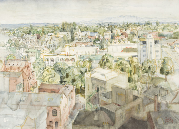 Olivia Spencer Bower Towards the Museum c. 1970. Watercolour and charcoal. Collection of Christchurch Art Gallery Te Puna o Waiwhetu, purchased 1972